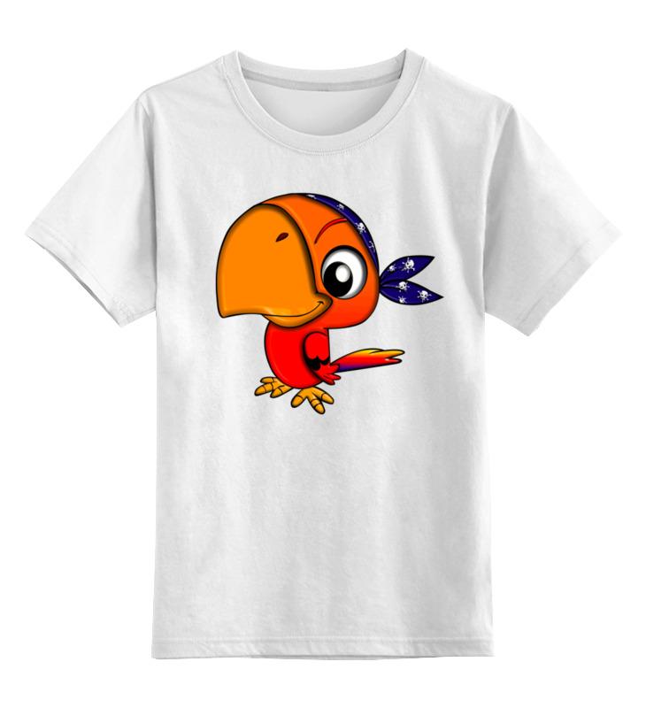 Купить 0000003429523, Детская футболка Printio Попугай цв.белый р.140,