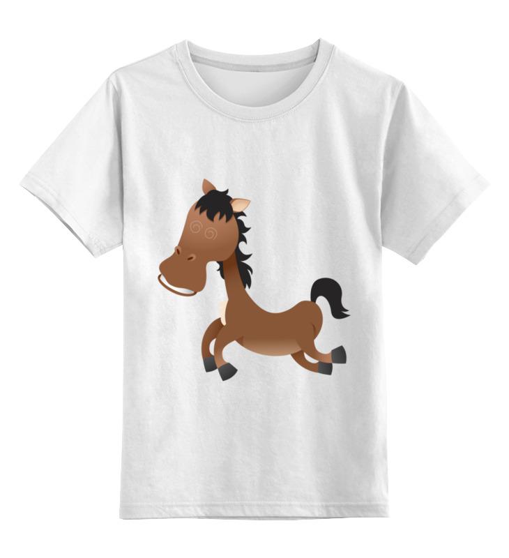 0000003444662, Детская футболка Printio Лошадь цв.белый р.140,  - купить со скидкой