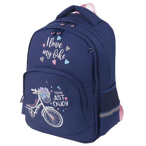Рюкзак BRAUBERG SOFT, 2 отделения, Flower bike, СВЕТЯЩИЙСЯ, 40х31х15 см, 229918