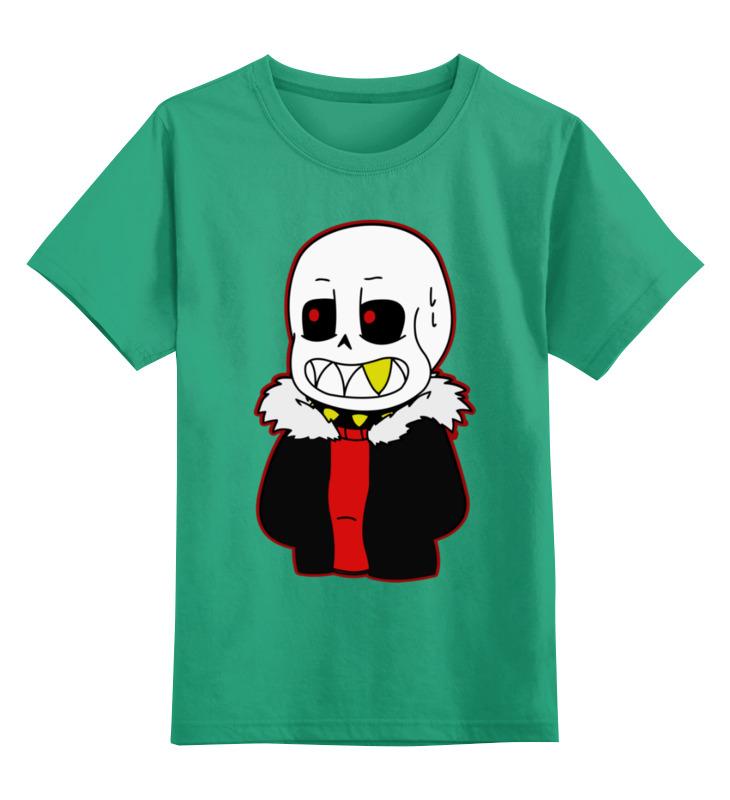 Купить 0000003423920, Детская футболка Printio Санс. цв.зеленый р.128,