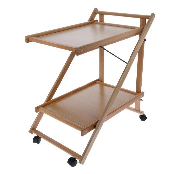 Складной сервировочный столик, бежевый, 75х45х62 см