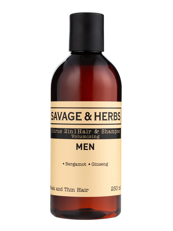 Купить Мужской тонизирующий шампунь 2в1 Savage&Herbs с бергамотом и женьшенем, 250 мл