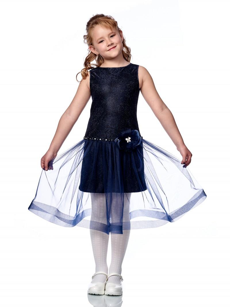 Купить Платье нарядное Minavla Азалия синий для девочки р.134, Платья для девочек