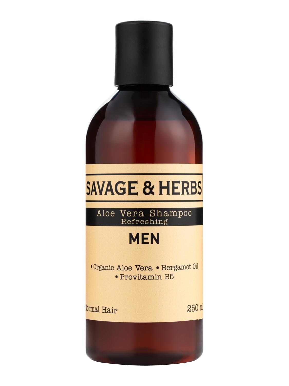 Купить Мужской увлажняющий шампунь Savage&Herbs с алоэ вера, провитамином B5. Без SLS, 250 мл.