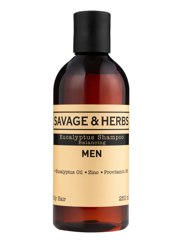 Купить Мужской освежающий шампунь Savage&Herbs с эвкалиптом, для жирных волос, 250 мл.