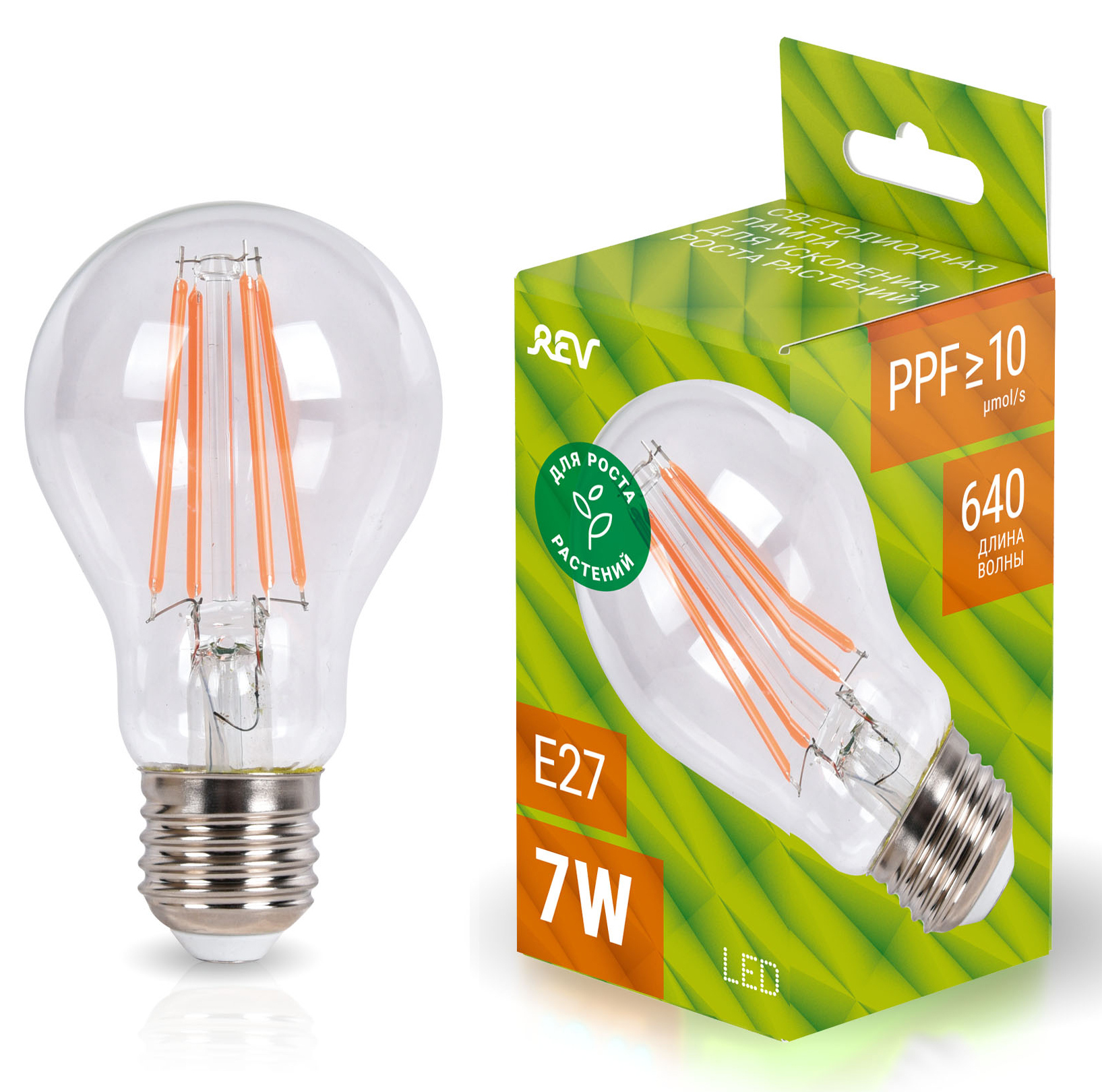 Лампа для растений А60 E27 7W FILAMENT,