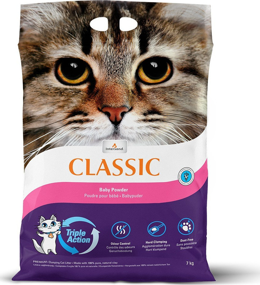 Комкующийся наполнитель для кошек Intersand Classic глиняный,