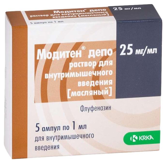 Купить Модитен депо раствор для в/м введ. маслян. 25 мг/мл. амп. 1 мл. №5, KRKA