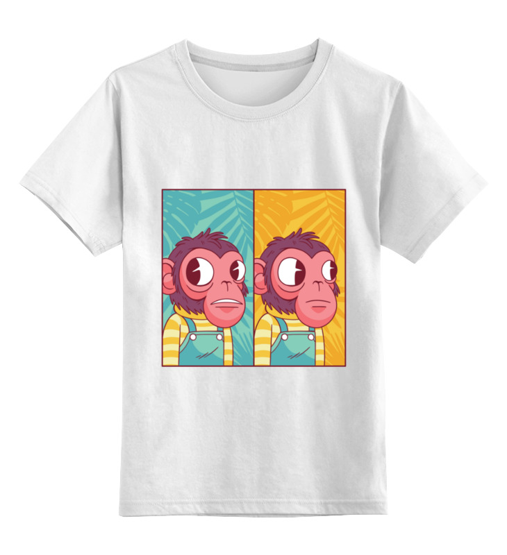 Купить 0000003429055, Детская футболка Printio Мем с обезьяной цв.белый р.104,