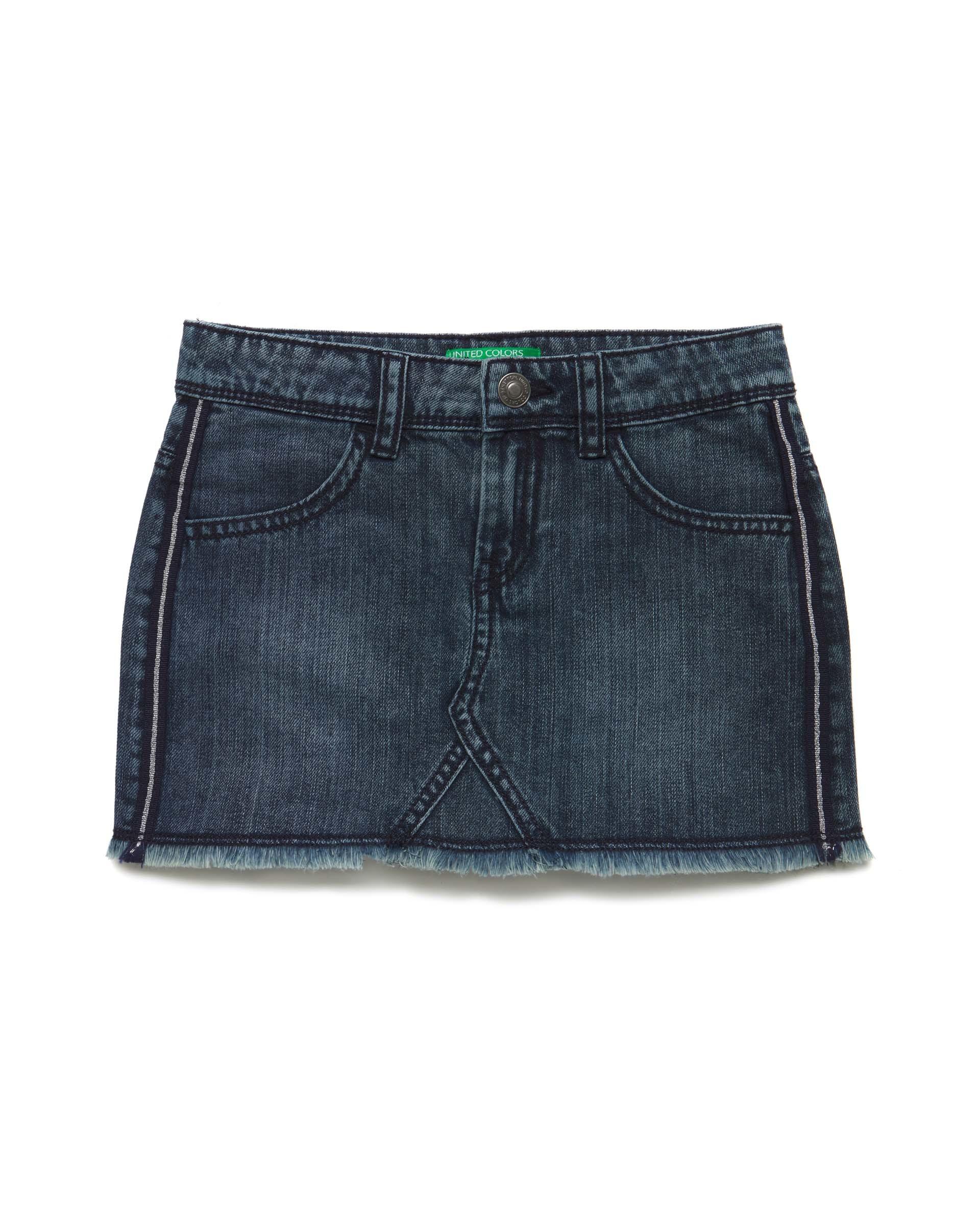 Купить 20P_4NV9508I0_901, Джинсовая юбка для девочек Benetton 4NV9508I0_901 р-р 128, United Colors of Benetton, Юбки для девочек