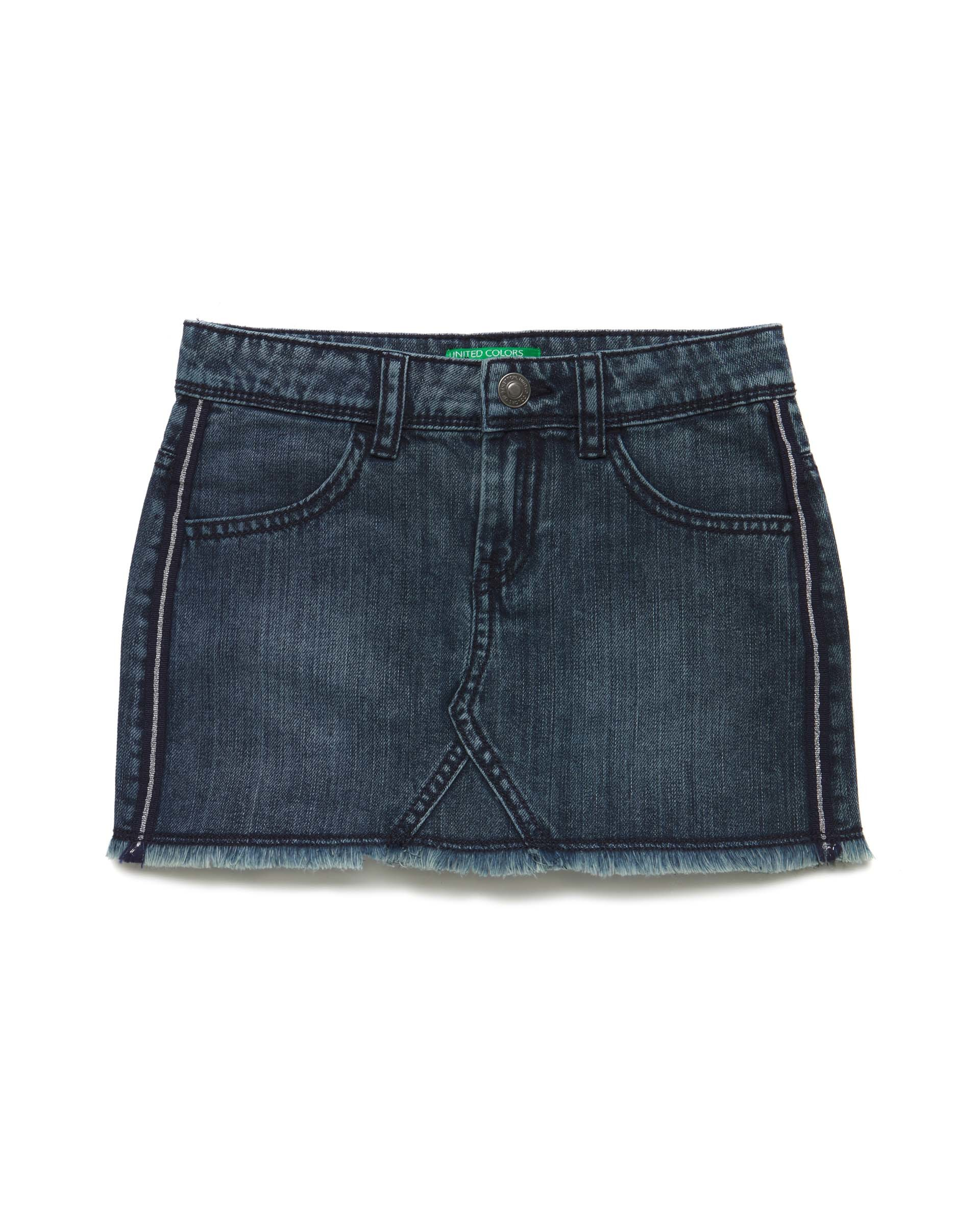 Купить 20P_4NV9508I0_901, Джинсовая юбка для девочек Benetton 4NV9508I0_901 р-р 140, United Colors of Benetton, Юбки для девочек