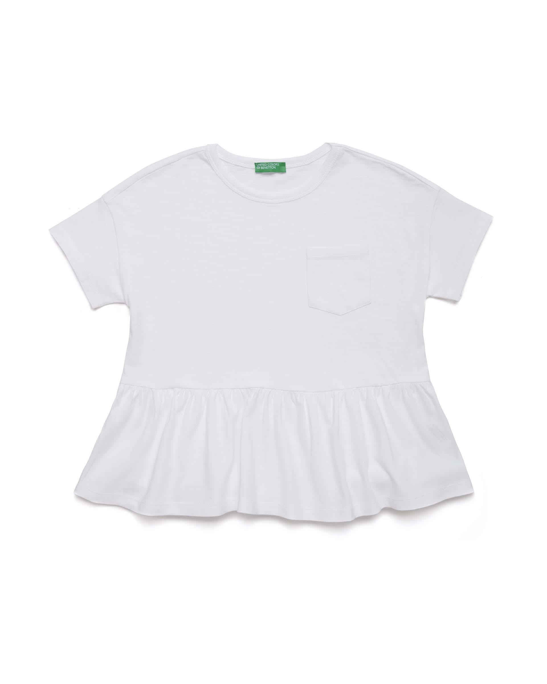 Купить 20P_3BVXC14LV_101, Футболка для девочек Benetton 3BVXC14LV_101 р-р 128, United Colors of Benetton, Футболки для девочек