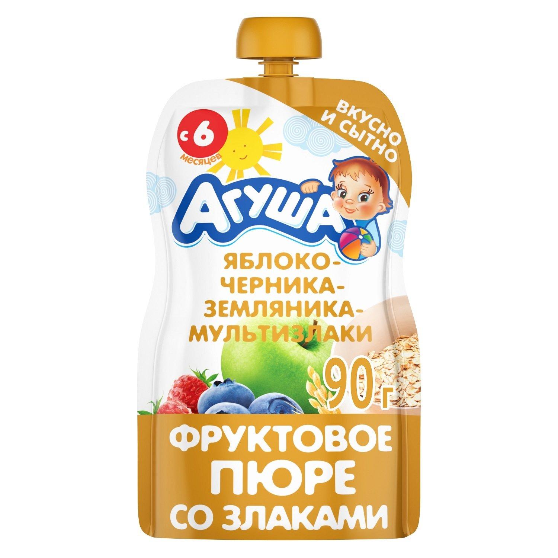 Купить Яблоко черника земляника злаки, Пюре фруктовое Агуша Яблоко-черника-земляника-злаки с 6 мес. 90 г,