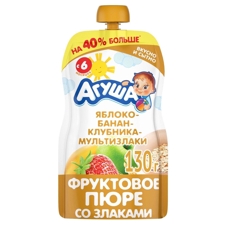 Купить Пюре фрутовое Агуша Яблоко-банан-клубника-злаки с 6 мес. 130 г, Фруктовое пюре