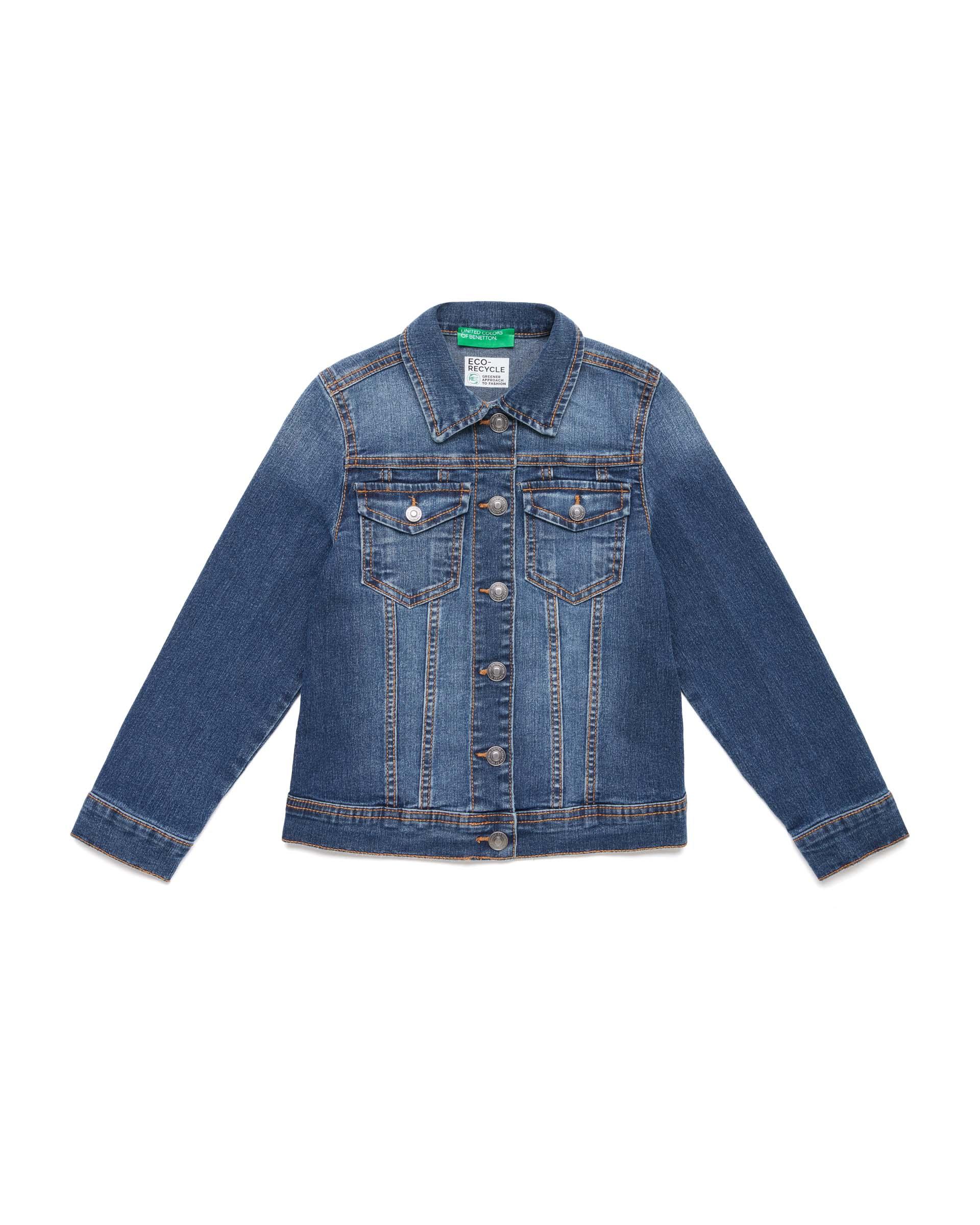 Купить 20P_2XA253HK0_901, Джинсовая куртка для девочек Benetton 2XA253HK0_901 р-р 110, United Colors of Benetton, Куртки для девочек