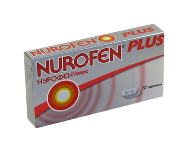 Нурофен плюс таблетки, покрытые пленочной оболочкой 200 мг №12