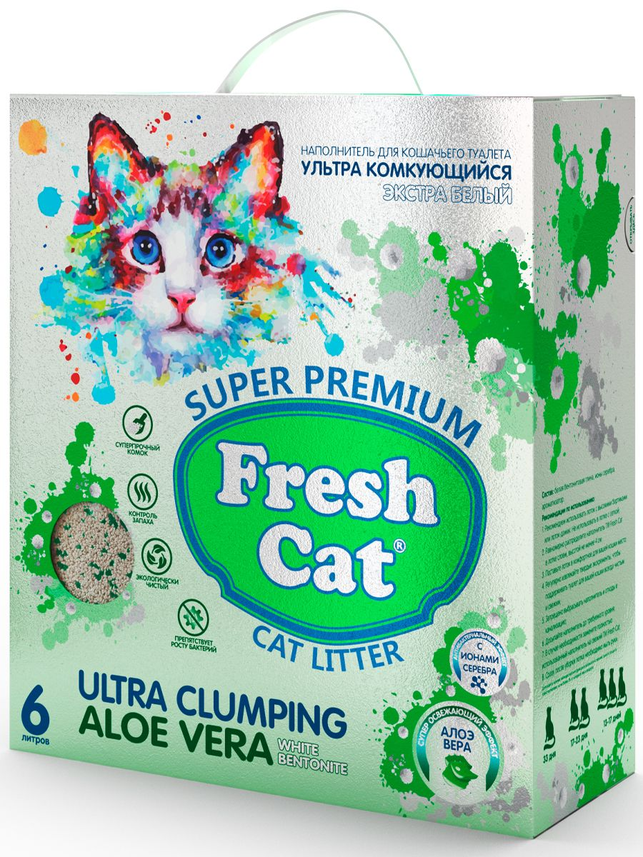 Комкующийся наполнитель для кошек Fresh Cat бентонитовый,