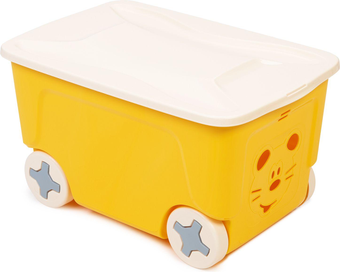 Купить Детский ящик для игрушек COOL на колесах 50 литров желтый, Little Angel,