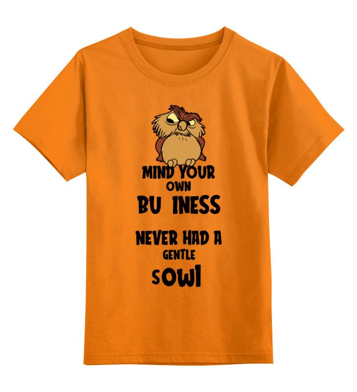 Купить 0000003420080, Детская футболка Printio Сова цв.оранжевый р.152,