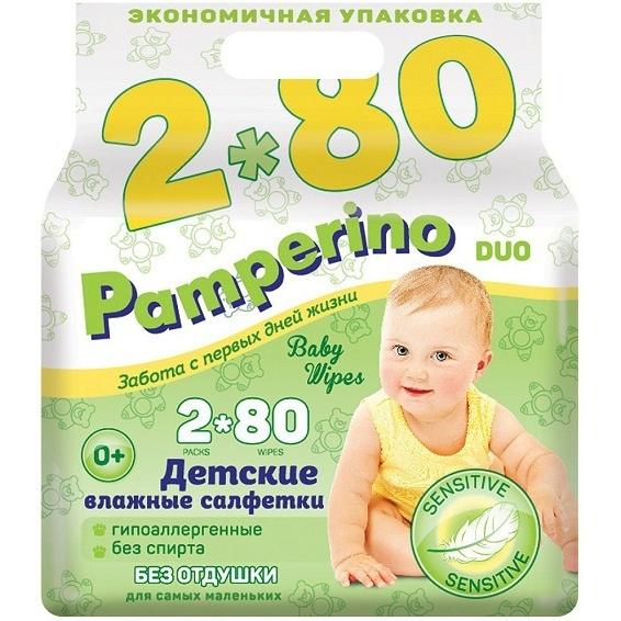 Салфетки влажные Pamperino без отдушки для детей, 2 х 80 шт фото