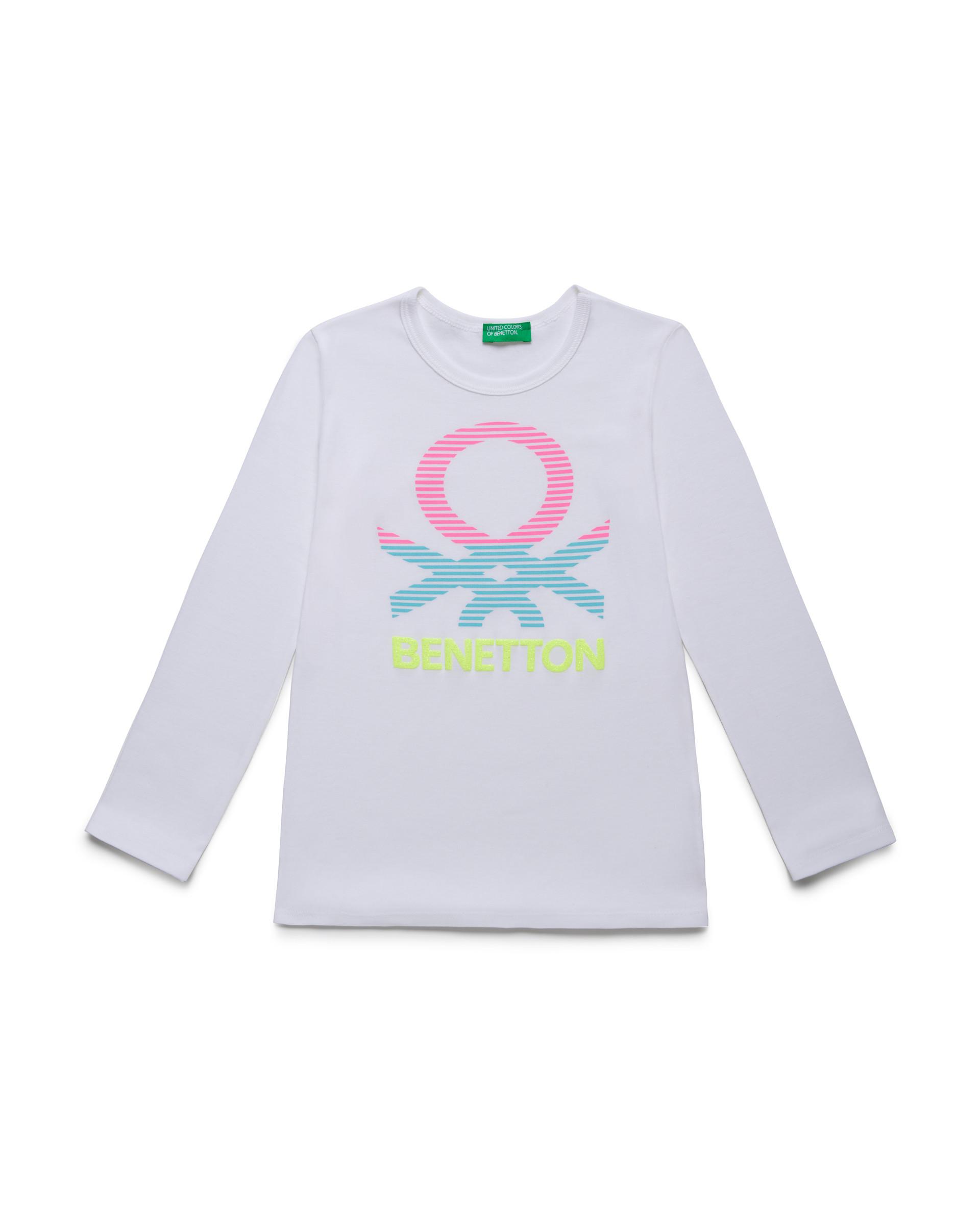 Купить 20P_3I9WC14J3_101, Футболка для девочек Benetton 3I9WC14J3_101 р-р 110, United Colors of Benetton, Футболки для девочек