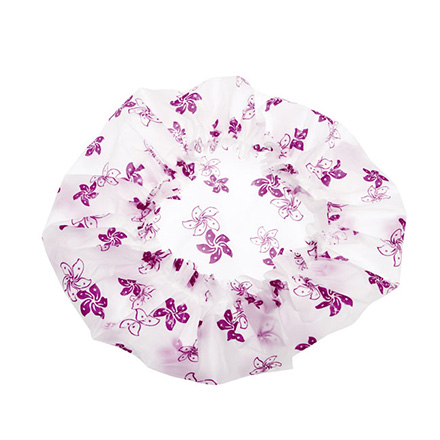 Шапочка DEWAL Beauty белая с фиолетовыми цветами