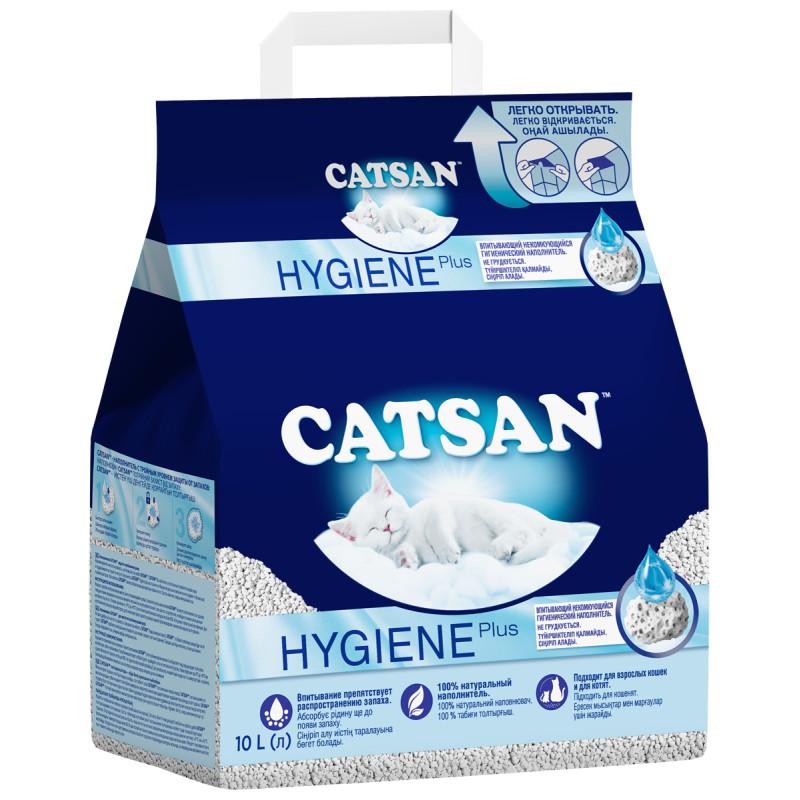 Впитывающий наполнитель для кошек Catsan Hygiene Plus бентонитовый 4.84 кг 10 л.
