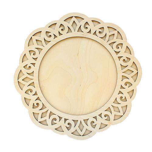 Купить L-890 Деревянная заготовка Астра Рамка круглая под зеркальце, 19, 5х19, 5 см, Рукоделие