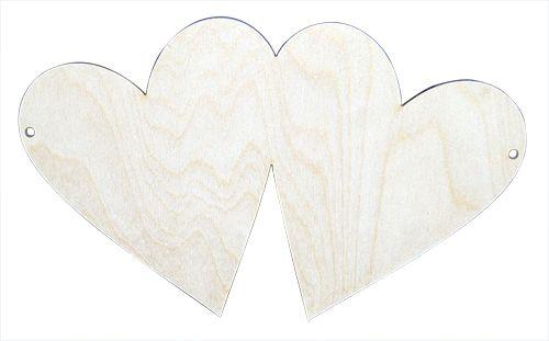 Купить L-104 Деревянная заготовка Астра Панно 2 сердечка, 25 см, Рукоделие