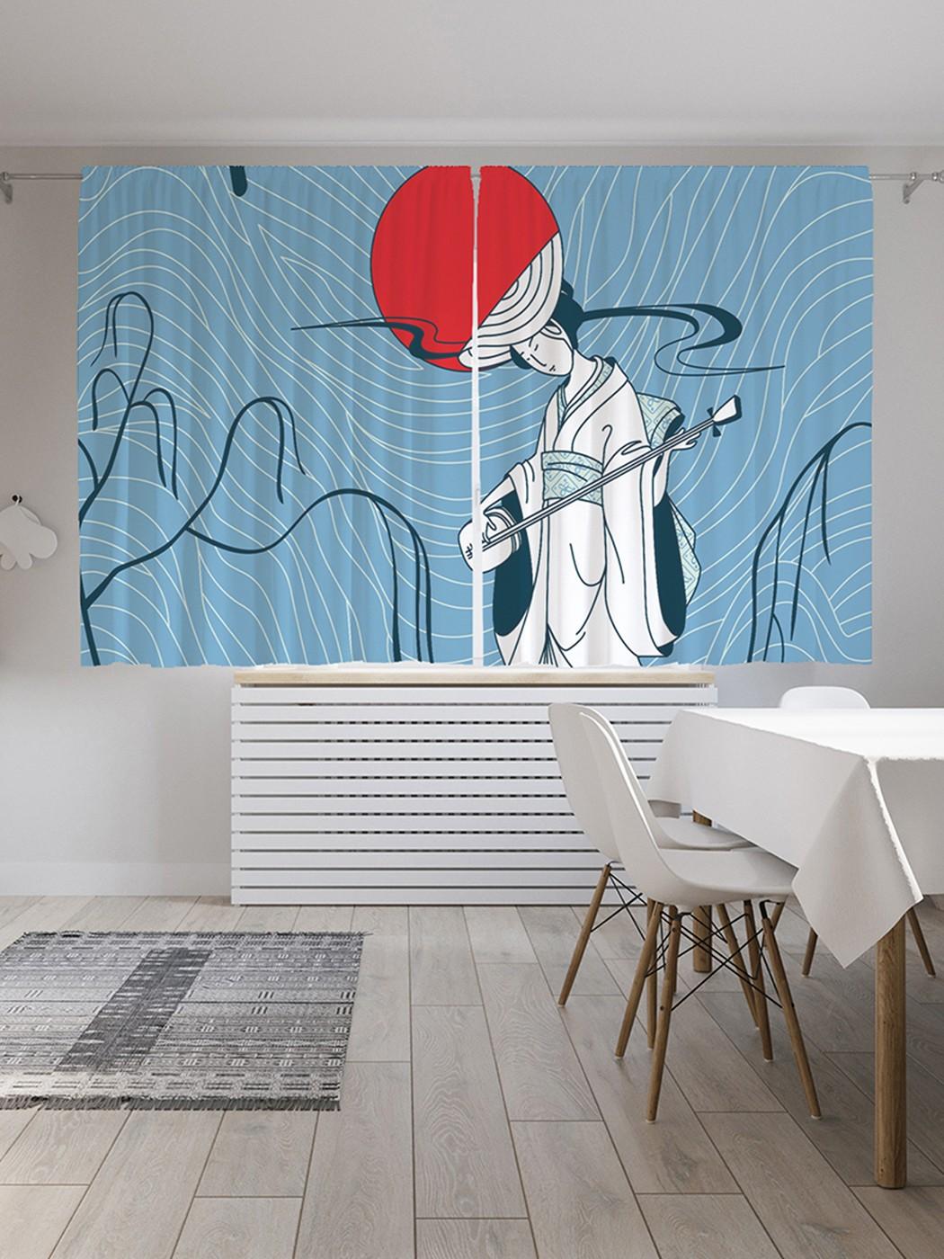 Шторы под лён JoyArty «Азиатская музыка», серия Oxford DeLux, 290х180 см фото