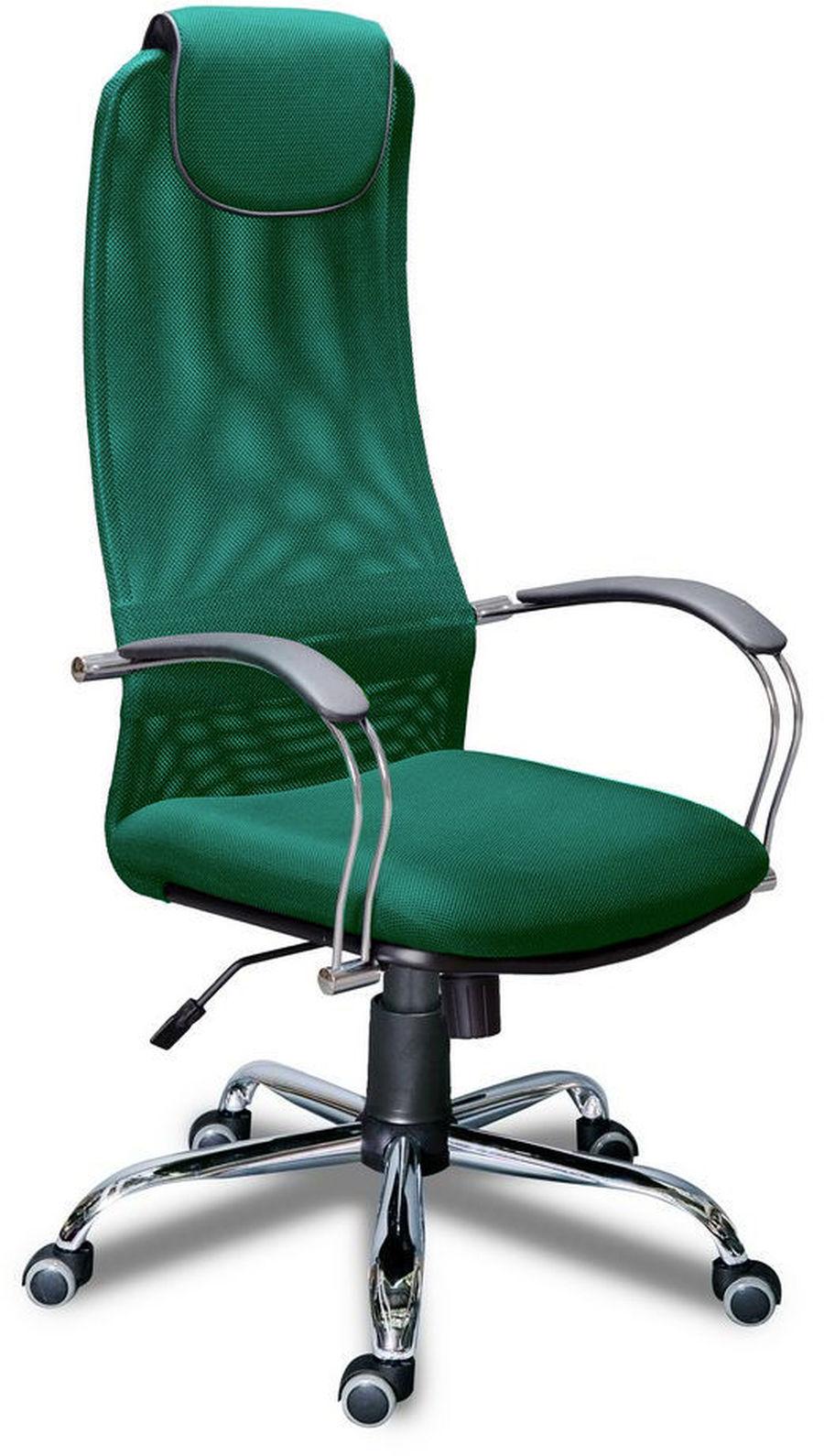 Компьютерное кресло Фокс хром/Ткань сетка зеленая