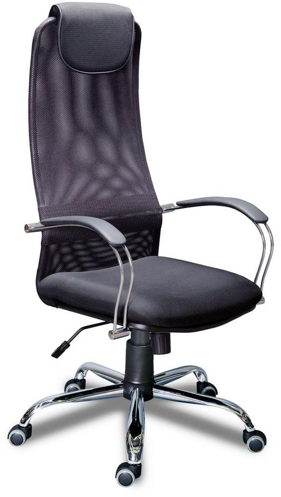 Компьютерное кресло Фокс хром/Ткань сетка черная