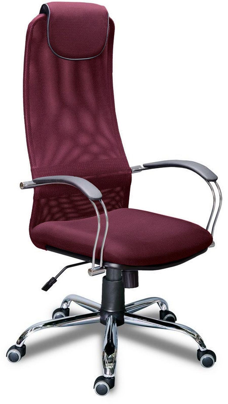 Компьютерное кресло Фокс хром/Ткань сетка бордовая