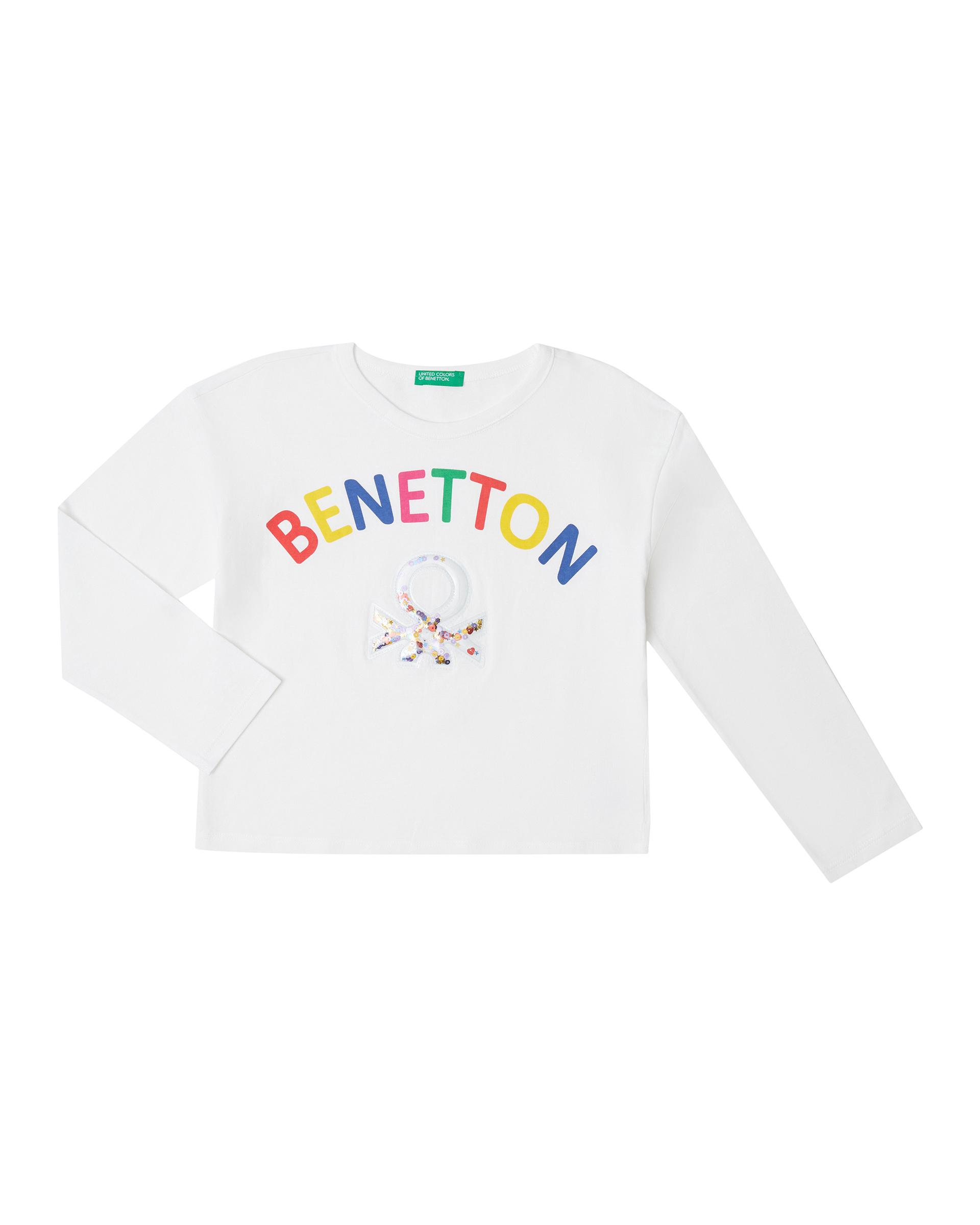 Купить 20P_3096C14JN_101, Футболка для девочек Benetton 3096C14JN_101 р-р 110, United Colors of Benetton, Футболки для девочек