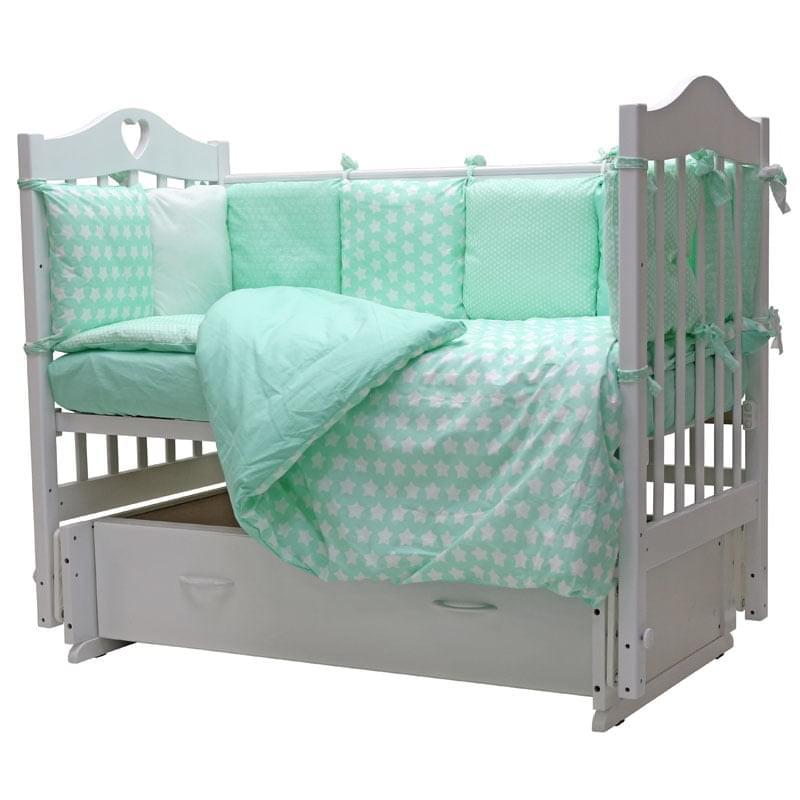 Комплект в кроватку Топотушки 12 месяцев бирюзовый, 3 предмета