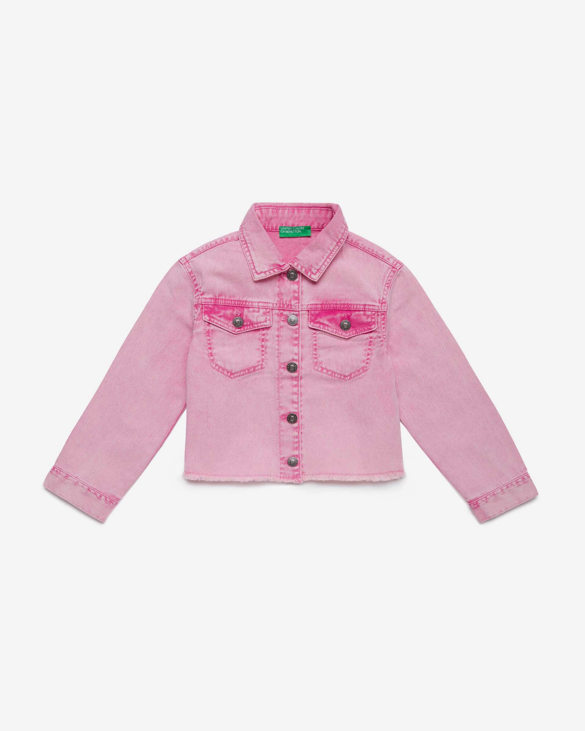 Купить 20P_2PL353HW0_901, Джинсовая куртка для девочек Benetton 2PL353HW0_901 р-р 128, United Colors of Benetton, Куртки для девочек