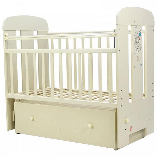 Купить Кровать детская Топотушки Верона слоновая кость с ящиком, маятник поперечный, 120х60, Классические кроватки