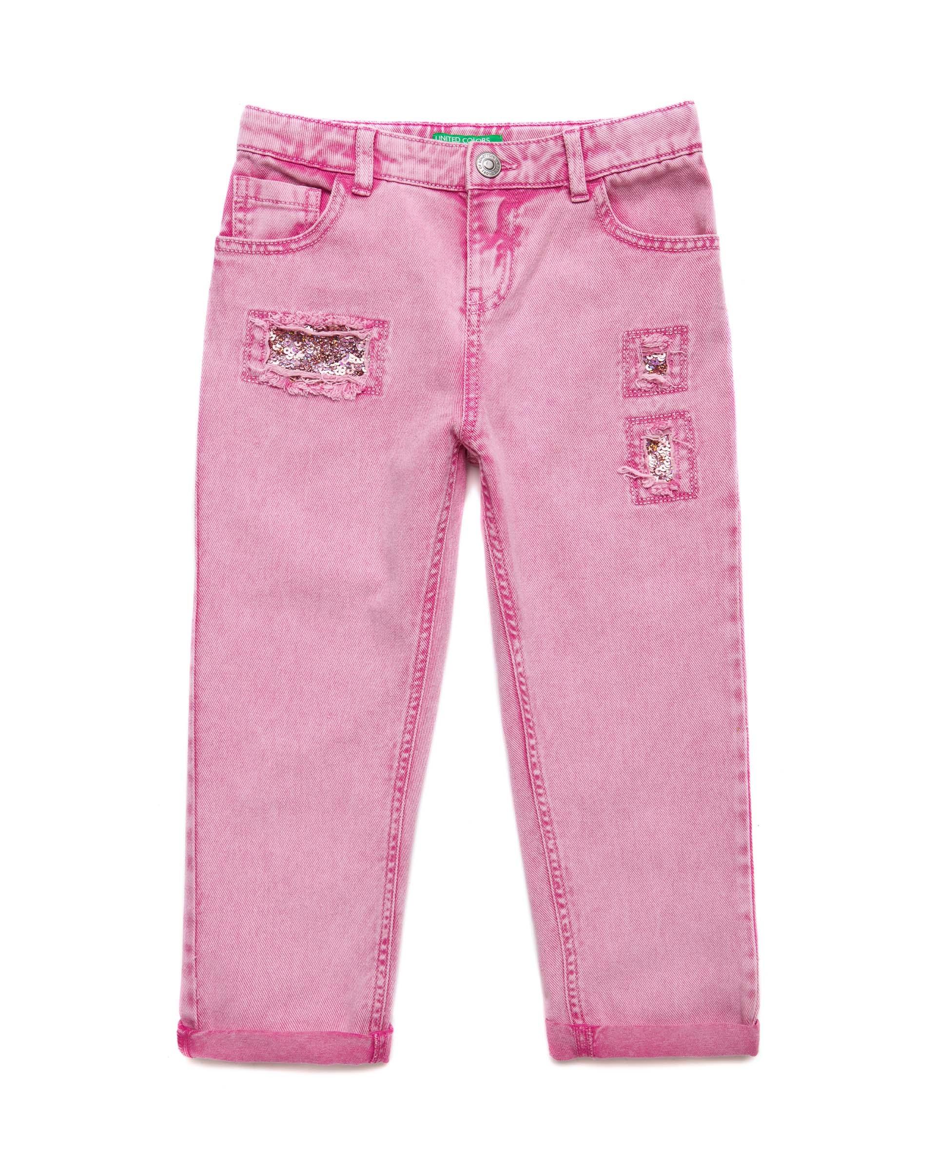 Купить 20P_4PL355B60_901, Брюки для девочек Benetton 4PL355B60_901 р-р 152, United Colors of Benetton, Джинсы для девочек