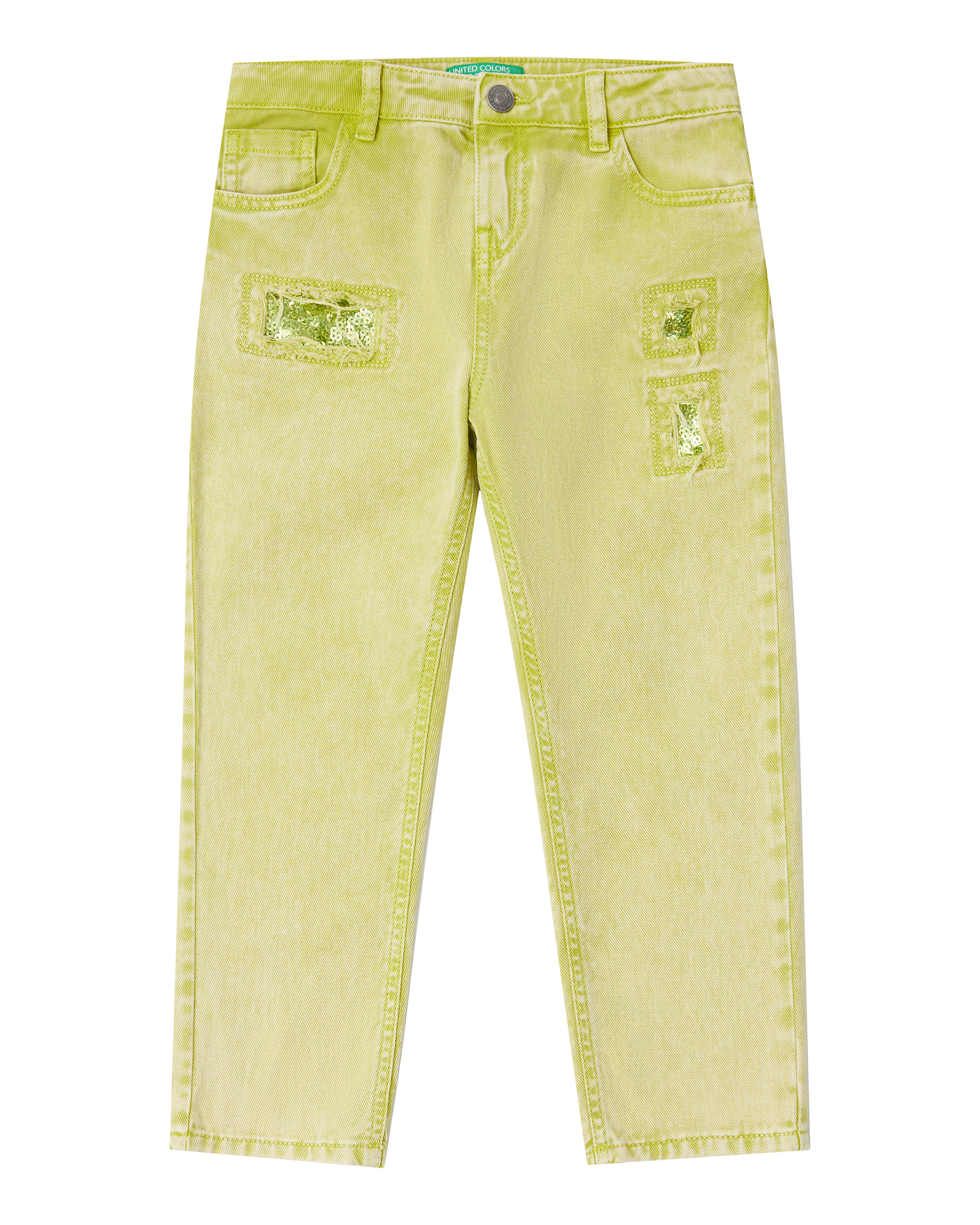 Купить 20P_4PL355B60_902, Брюки для девочек Benetton 4PL355B60_902 р-р 128, United Colors of Benetton, Джинсы для девочек