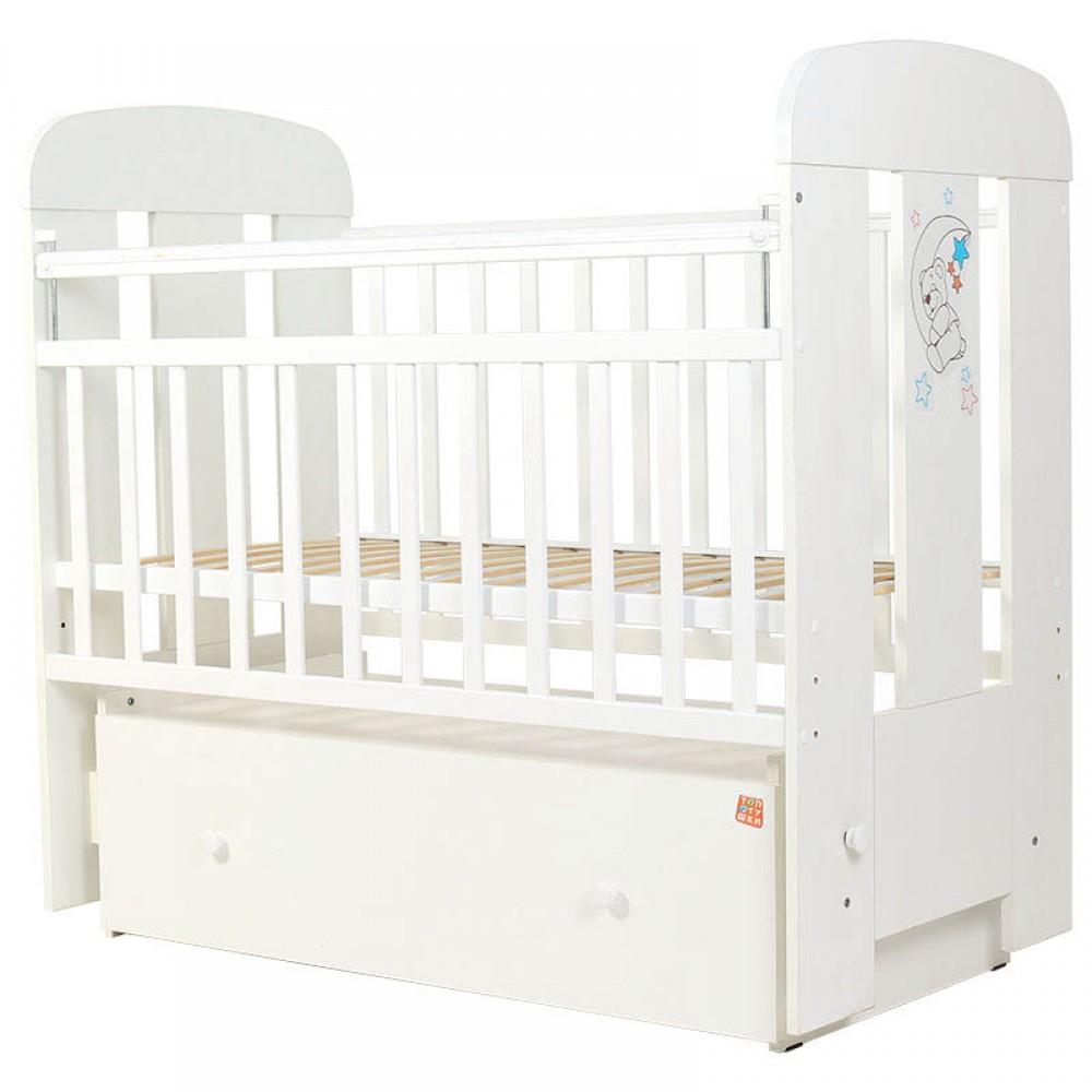 Купить Кровать детская Топотушки Верона белая с ящиком, маятник поперечный, 120х60, Классические кроватки