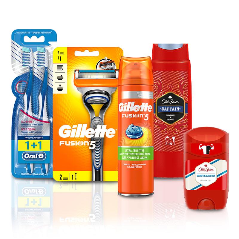 Купить Набор дорожный для него: товары д/бритья, дезодорант, гель д/душа 2в1, зубная щетка 2шт, Gillette