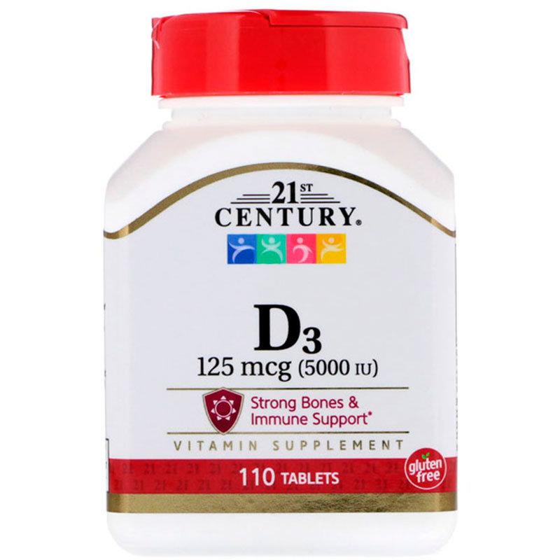 Купить Витамин D3 5000 ME, Витамин D-3 21st Century Vitamin D-3 5000 ME таблетки 110 шт.