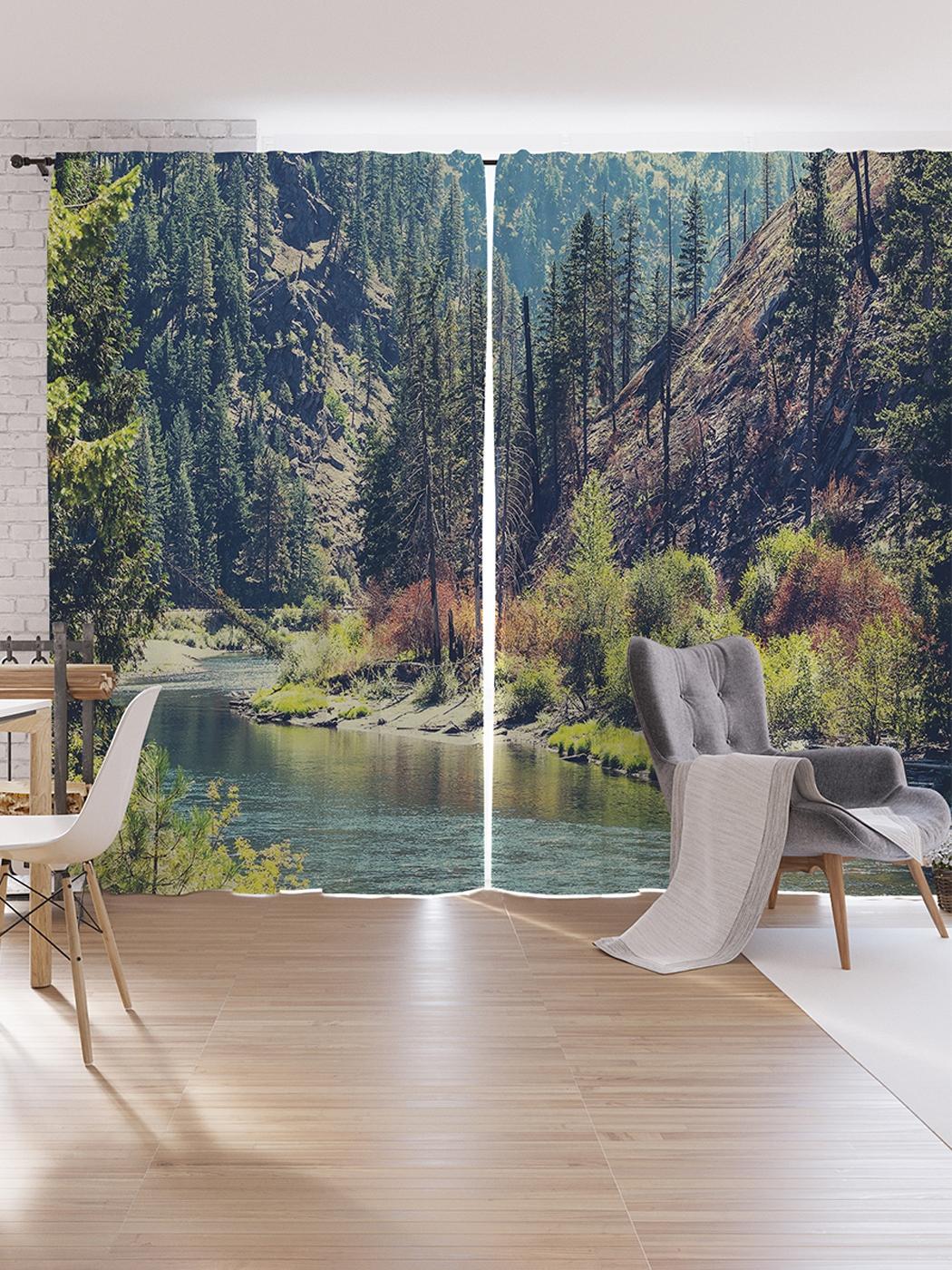 Шторы под лён JoyArty «Река, прячущаяся за лесами», серия Oxford DeLux, 340х265 см фото