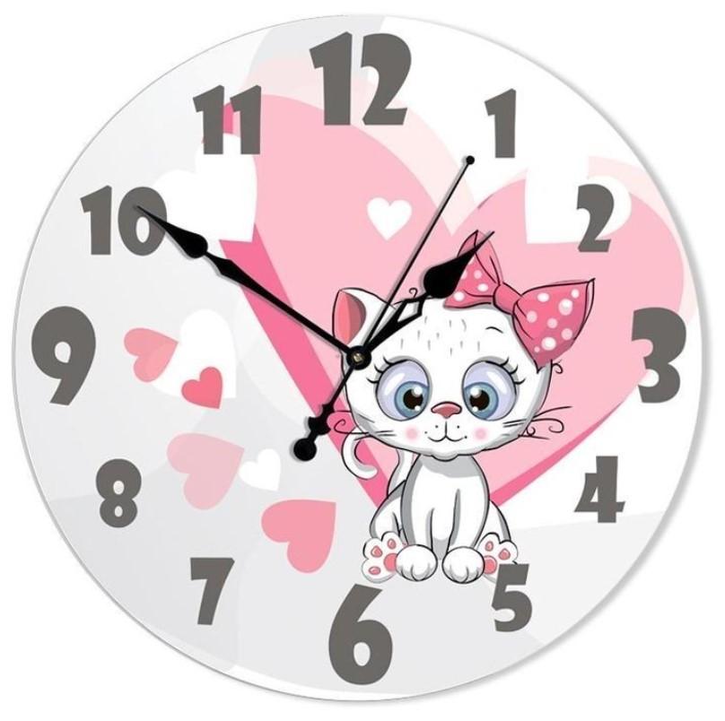 Настенные часы Династия 33 см Белый котенок 01-073