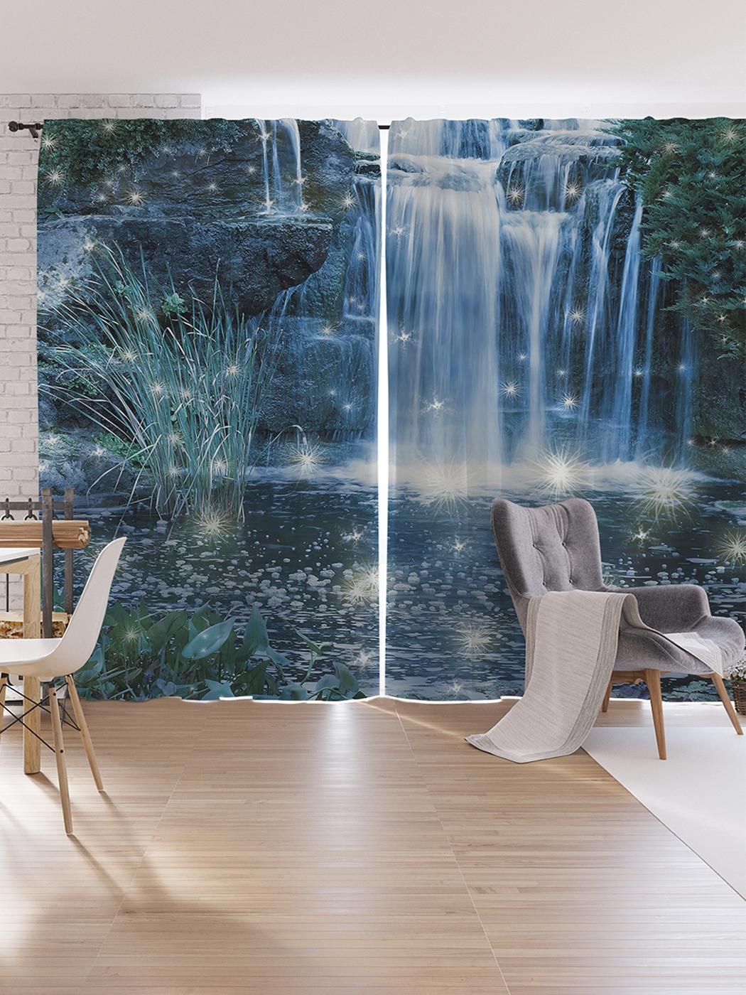 Шторы под лён JoyArty «Волшебство на водопаде», серия Oxford DeLux, 340х265 см фото