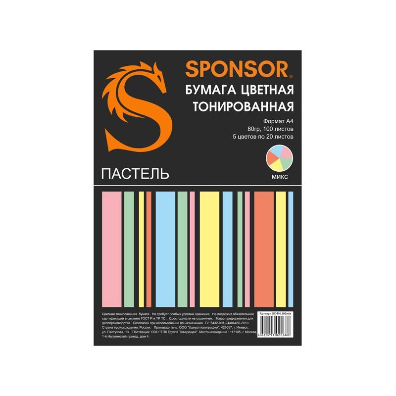 Бумага цветная тонированная SPONSOR А4, 80гр, 100 листов, пастель, 5 цветов по 20л.