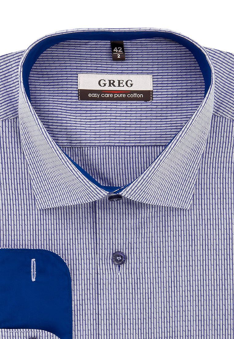 Рубашка мужская Greg 221/131/8221/Z/1_GB голубая 42 фото