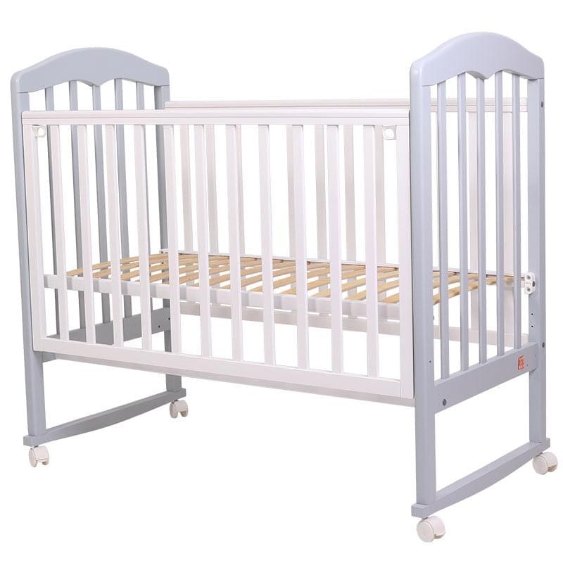 Кроватка колесо/качалка Топотушки Сильвия-2 серый/белый, 120х60