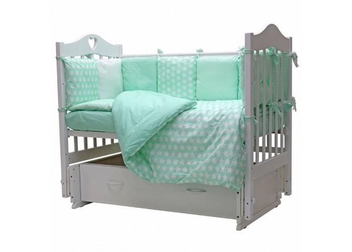 Комплект в кроватку Топотушки 12 месяцев бирюзовый, 6 предметов