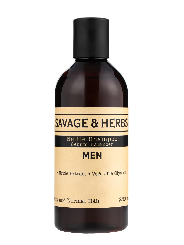 Купить Мужской травяной шампунь Savage&Herbs с экстрактом крапивы для жирных волос 250 мл